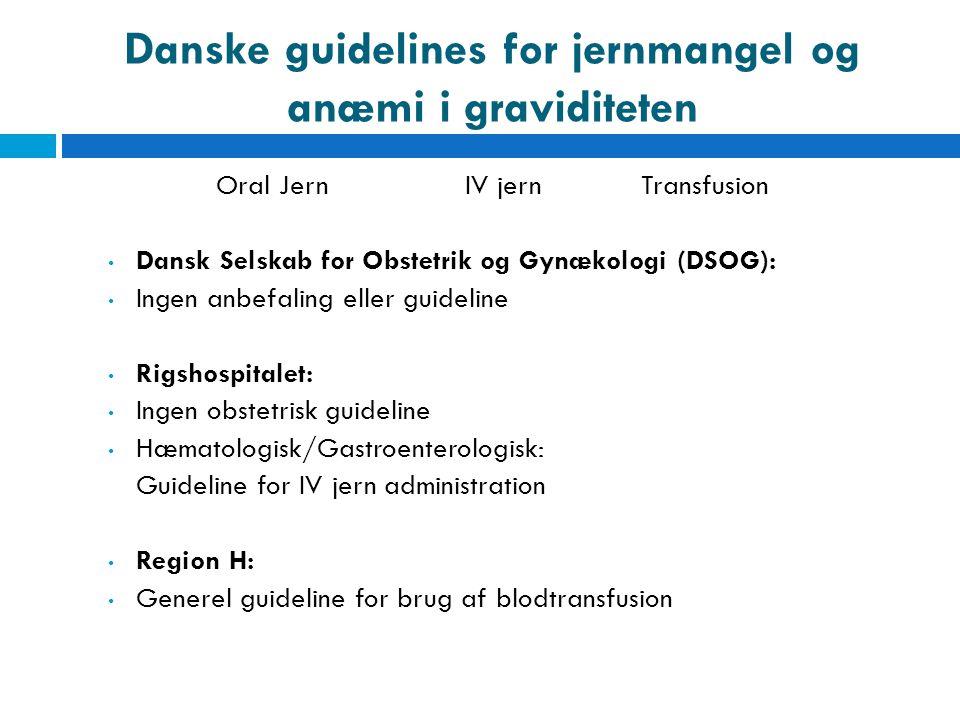 Danske guidelines for jernmangel og anæmi i graviditeten