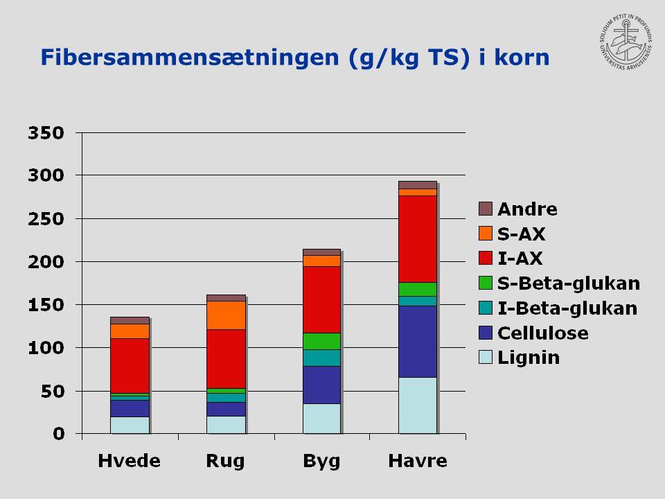 Fibersammensætningen (g/kg TS) i korn