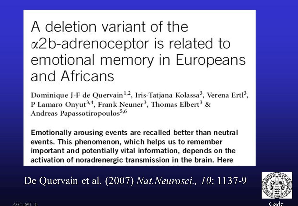 De Quervain et al. (2007) Nat.Neurosci., 10: 1137-9