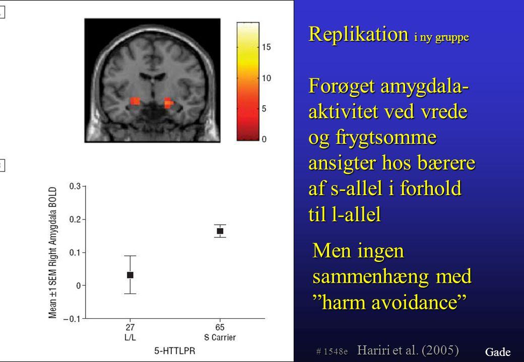 Replikation i ny gruppe Forøget amygdala-