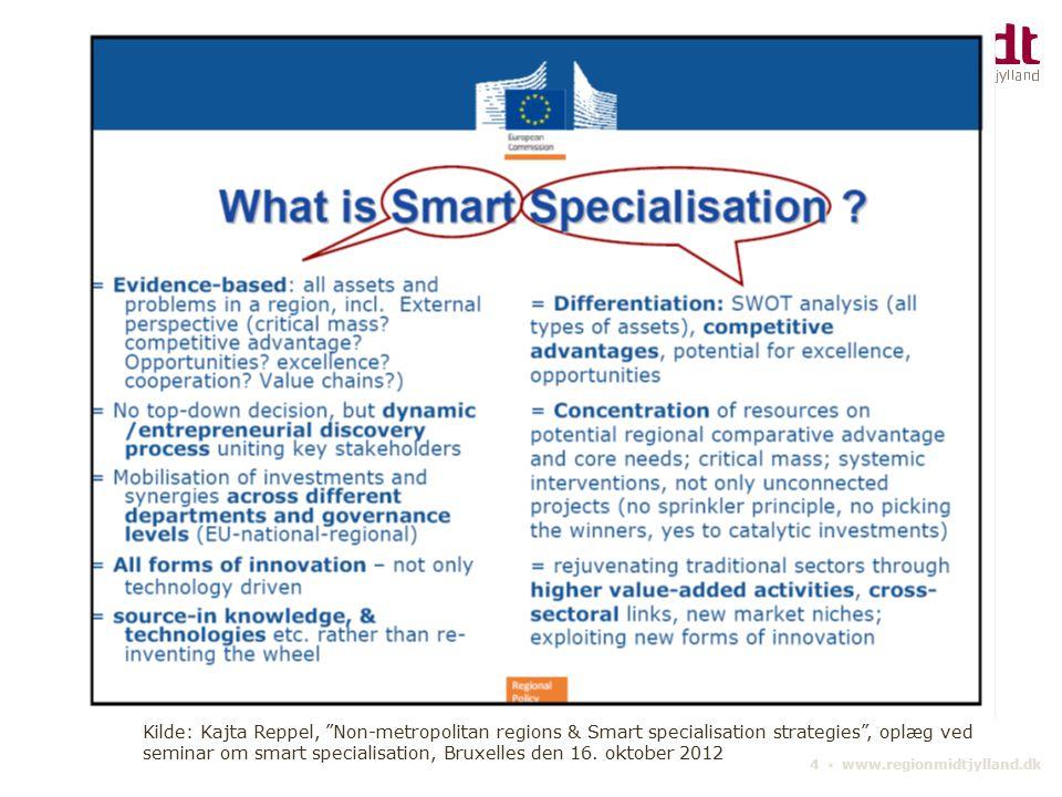 Kilde: Kajta Reppel, Non-metropolitan regions & Smart specialisation strategies , oplæg ved seminar om smart specialisation, Bruxelles den 16. oktober 2012