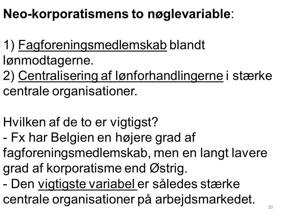Neo-korporatismens to nøglevariable: