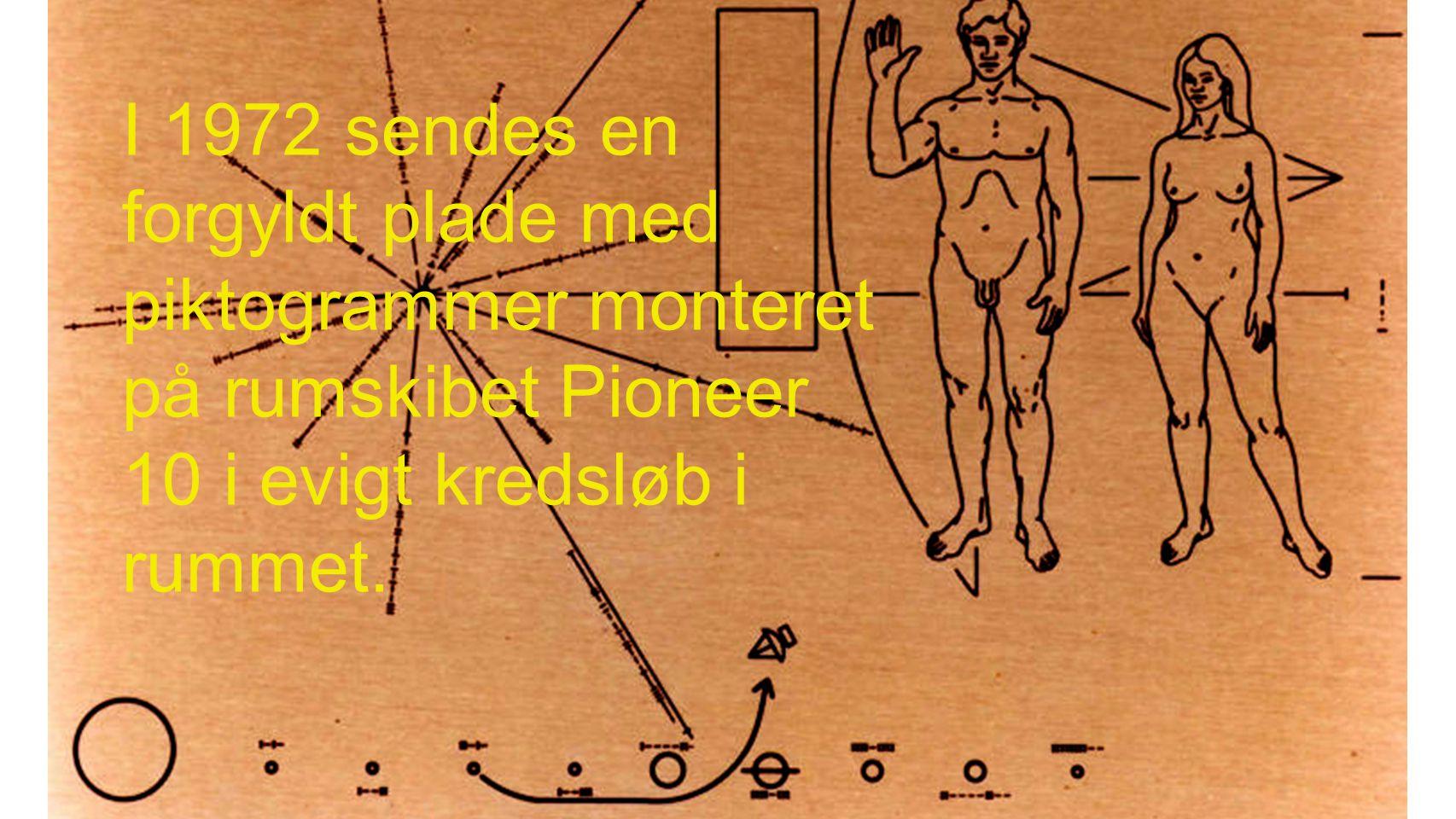 I 1972 sendes en forgyldt plade med piktogrammer monteret på rumskibet Pioneer 10 i evigt kredsløb i rummet.