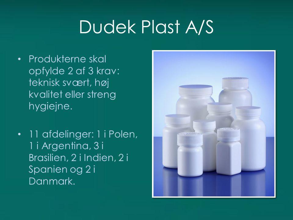 Dudek Plast A/S Produkterne skal opfylde 2 af 3 krav: teknisk svært, høj kvalitet eller streng hygiejne.
