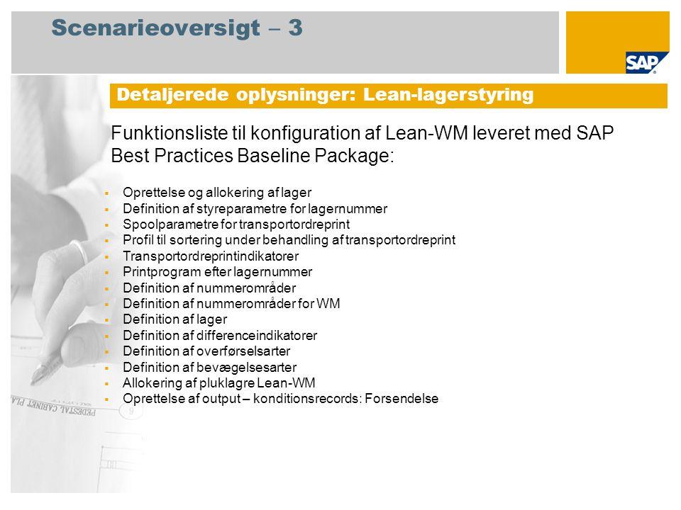 Scenarieoversigt – 3 Detaljerede oplysninger: Lean-lagerstyring.