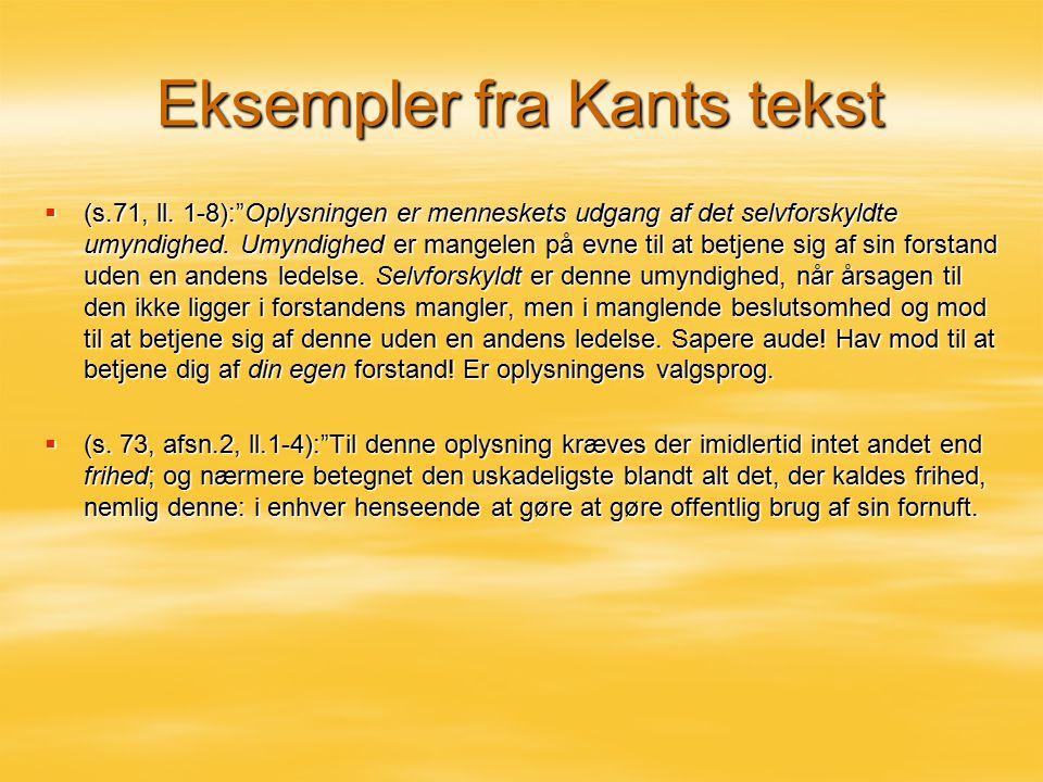Eksempler fra Kants tekst