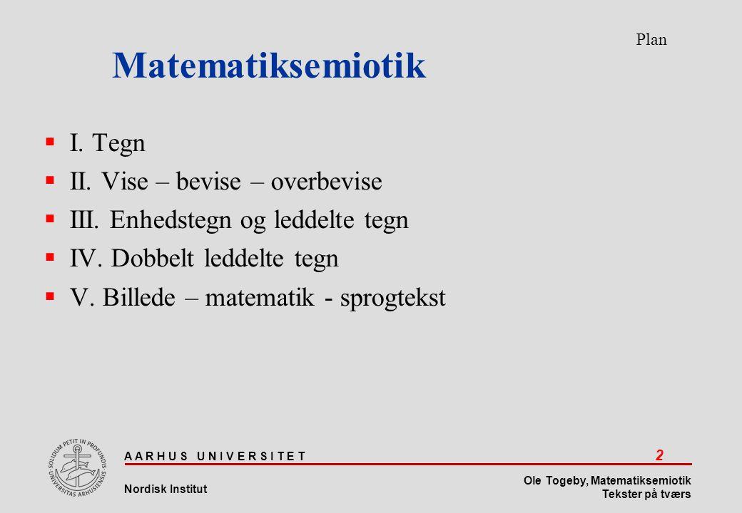 Matematiksemiotik I. Tegn II. Vise – bevise – overbevise