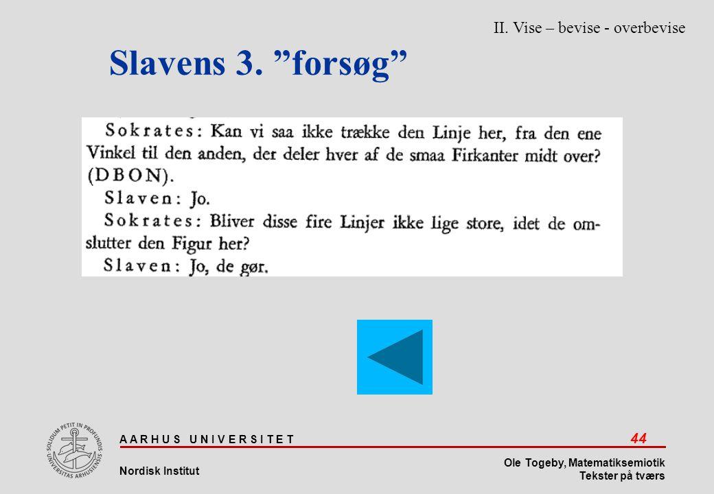 Slavens 3. forsøg II. Vise – bevise - overbevise