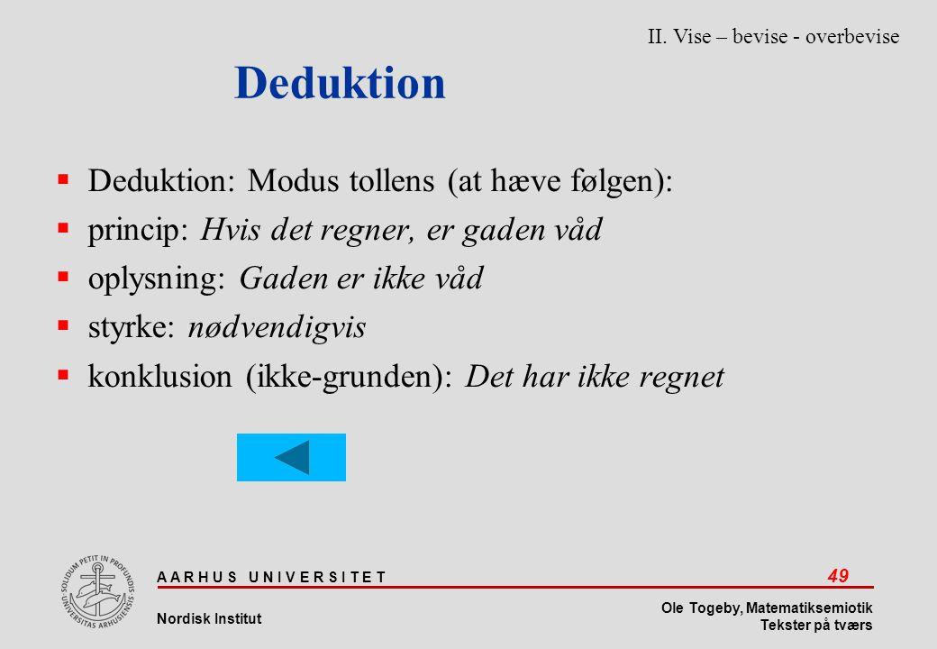 Deduktion Deduktion: Modus tollens (at hæve følgen):