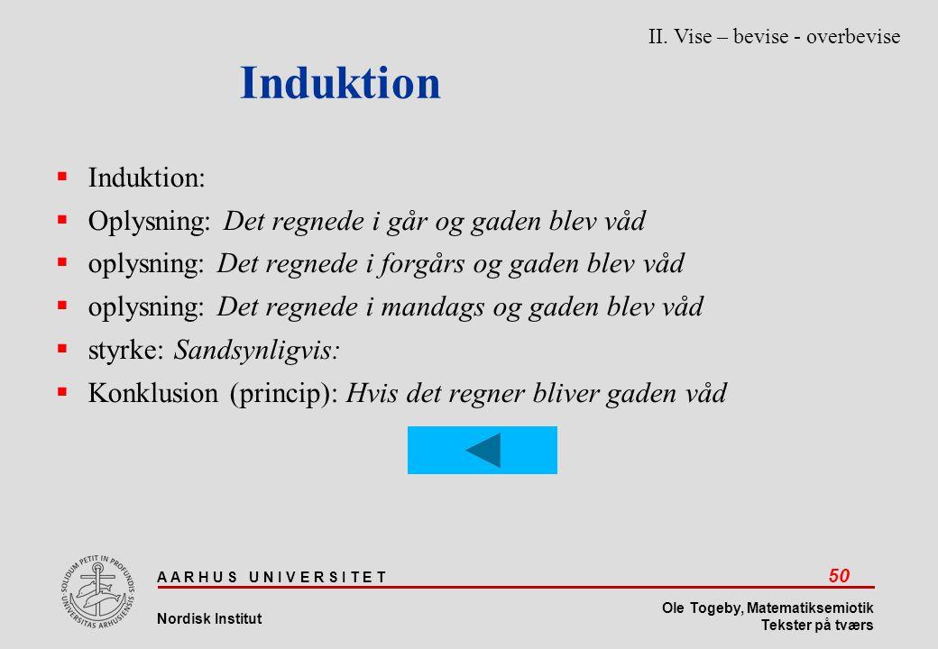 Induktion Induktion: Oplysning: Det regnede i går og gaden blev våd