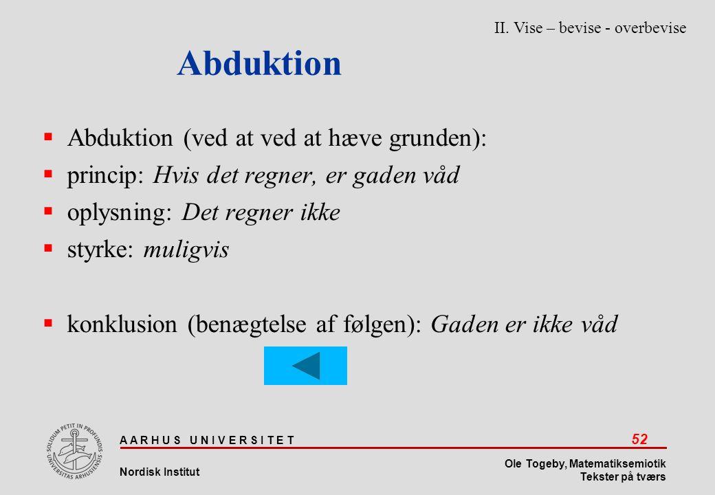 Abduktion Abduktion (ved at ved at hæve grunden):