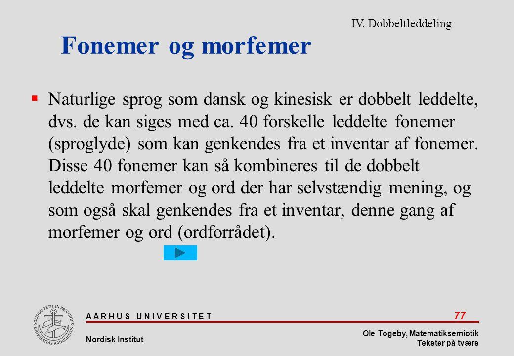 Fonemer og morfemer IV. Dobbeltleddeling.