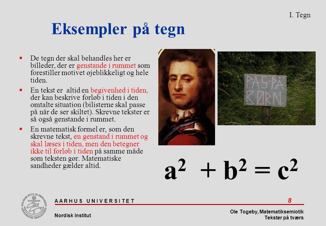 a2 + b2 = c2 Eksempler på tegn I. Tegn