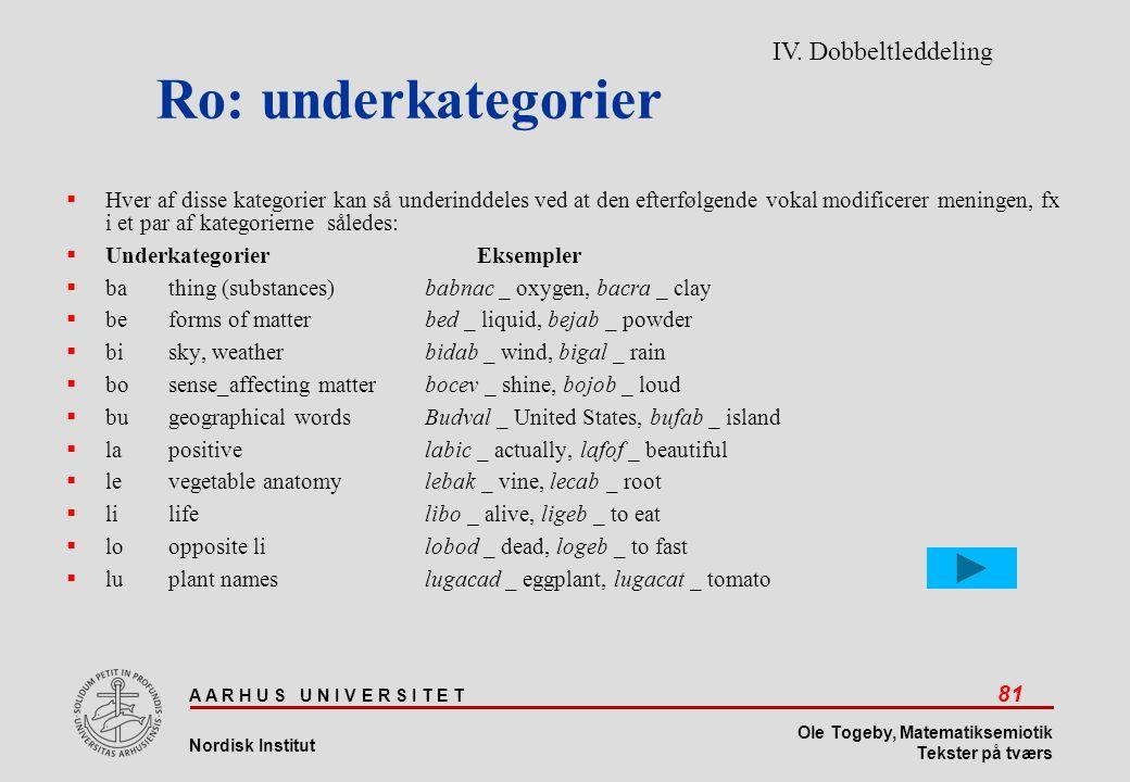 Ro: underkategorier IV. Dobbeltleddeling