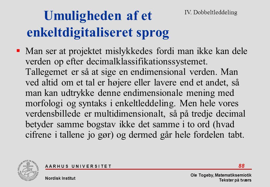 Umuligheden af et enkeltdigitaliseret sprog