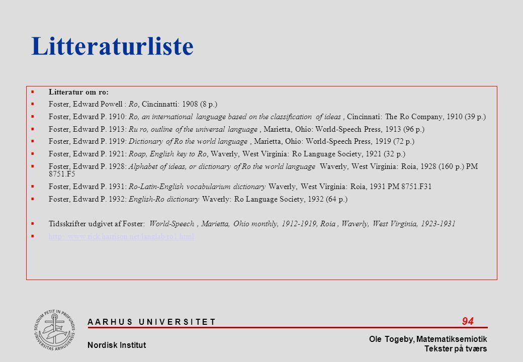 Litteraturliste Litteratur om ro: