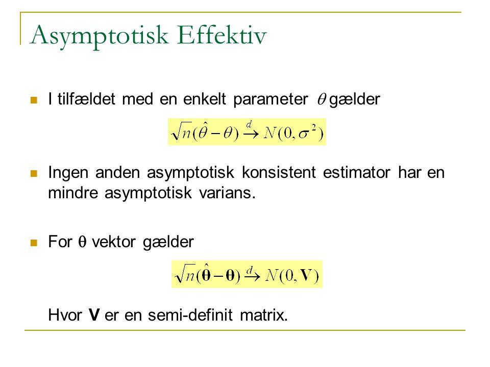 Asymptotisk Effektiv I tilfældet med en enkelt parameter q gælder