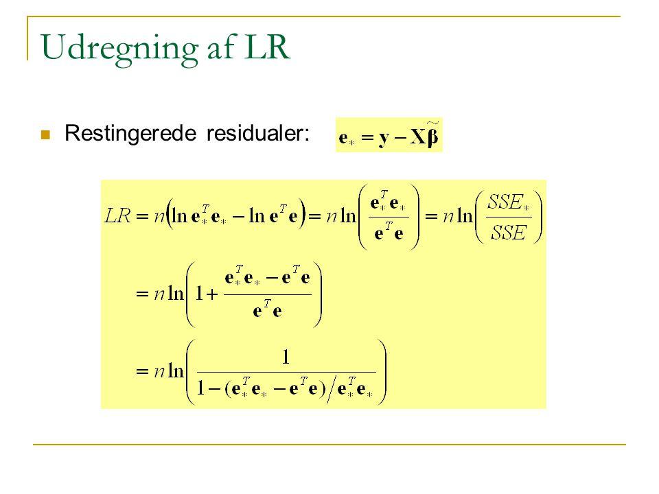 Udregning af LR Restingerede residualer: