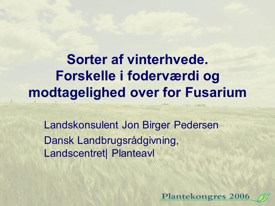 Sorter af vinterhvede. Forskelle i foderværdi og modtagelighed over for Fusarium