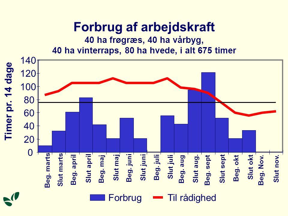 Forbrug af arbejdskraft 40 ha frøgræs, 40 ha vårbyg, 40 ha vinterraps, 80 ha hvede, i alt 675 timer