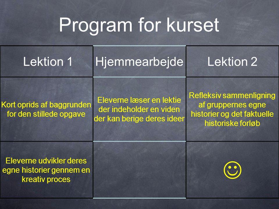  Program for kurset Lektion 1 Hjemmearbejde Lektion 2