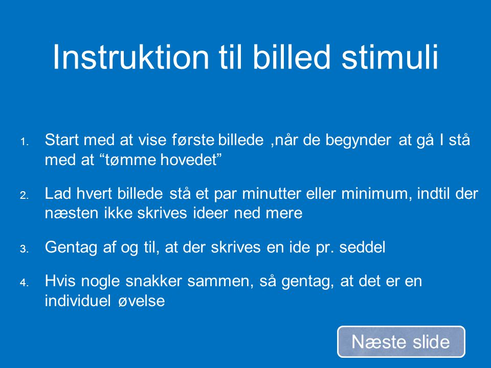 Instruktion til billed stimuli