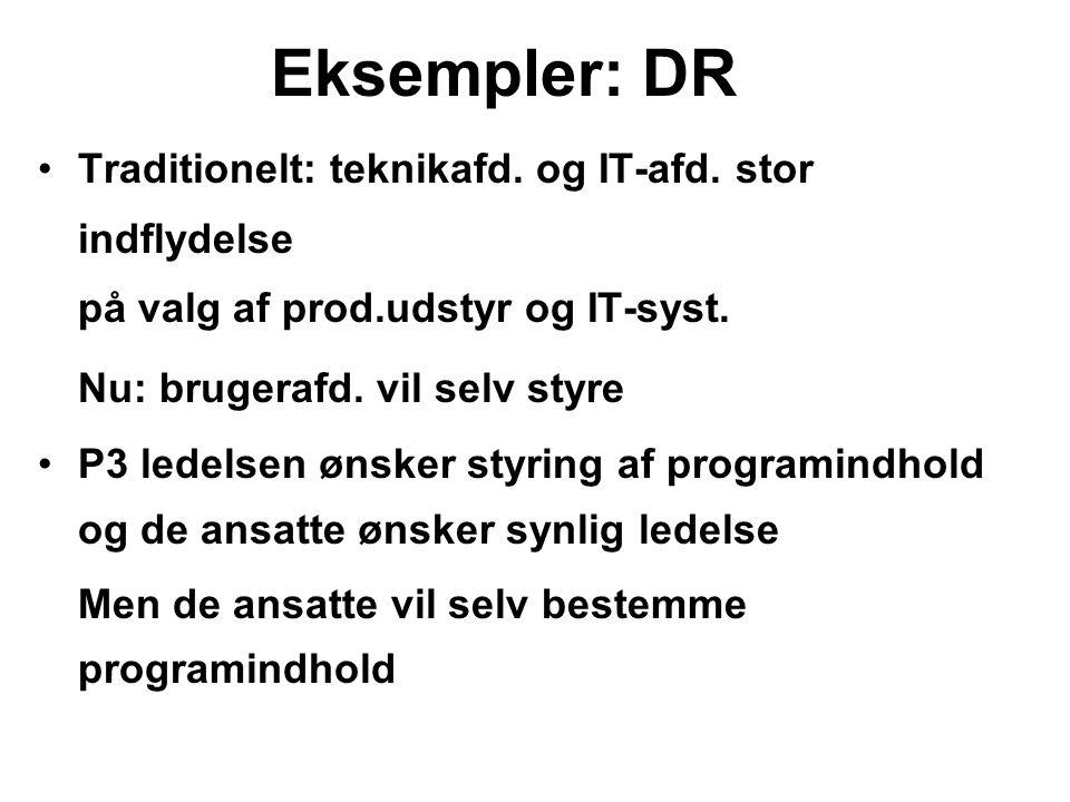 Eksempler: DR Traditionelt: teknikafd. og IT-afd. stor indflydelse på valg af prod.udstyr og IT-syst.
