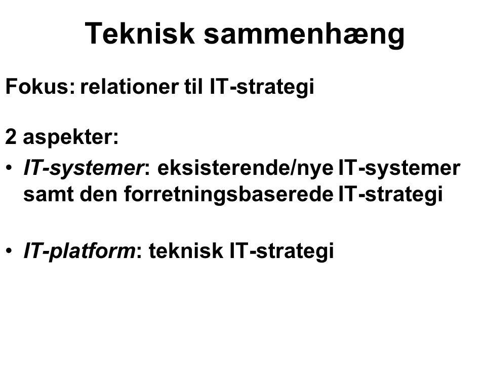 Teknisk sammenhæng Fokus: relationer til IT-strategi 2 aspekter: