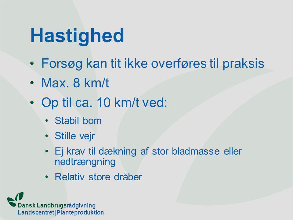 Hastighed Forsøg kan tit ikke overføres til praksis Max. 8 km/t