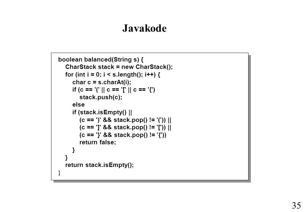 Javakode boolean balanced(String s) {