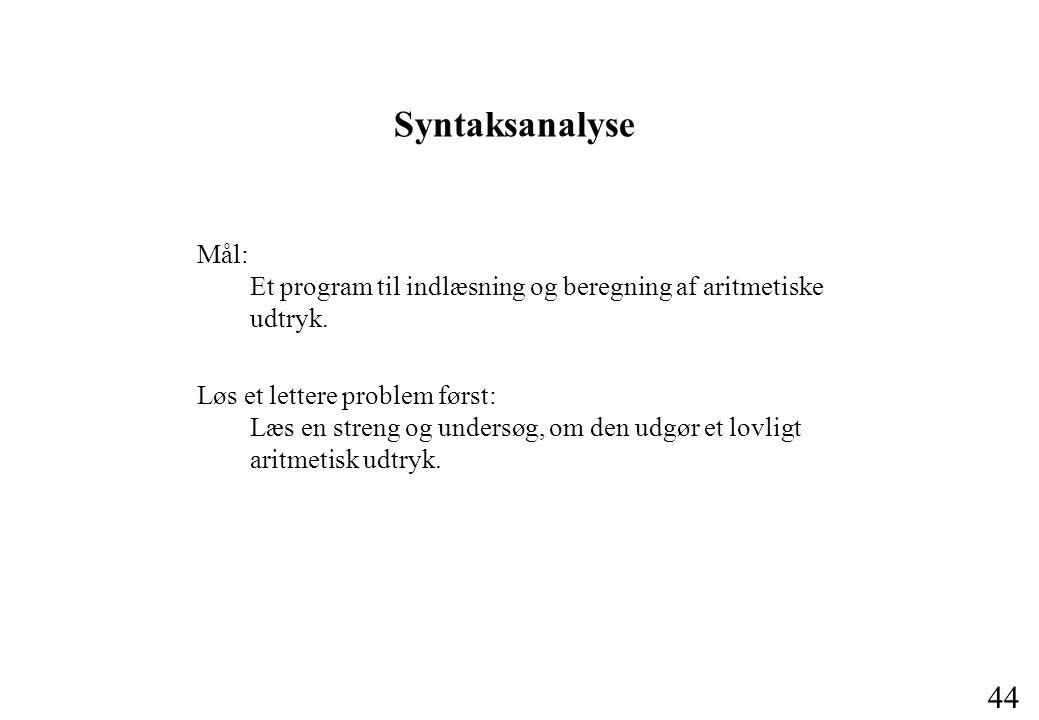 Syntaksanalyse Mål: Et program til indlæsning og beregning af aritmetiske udtryk.