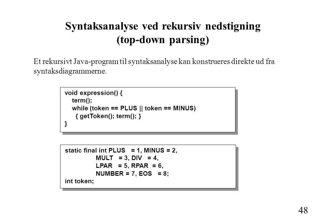 Syntaksanalyse ved rekursiv nedstigning (top-down parsing)
