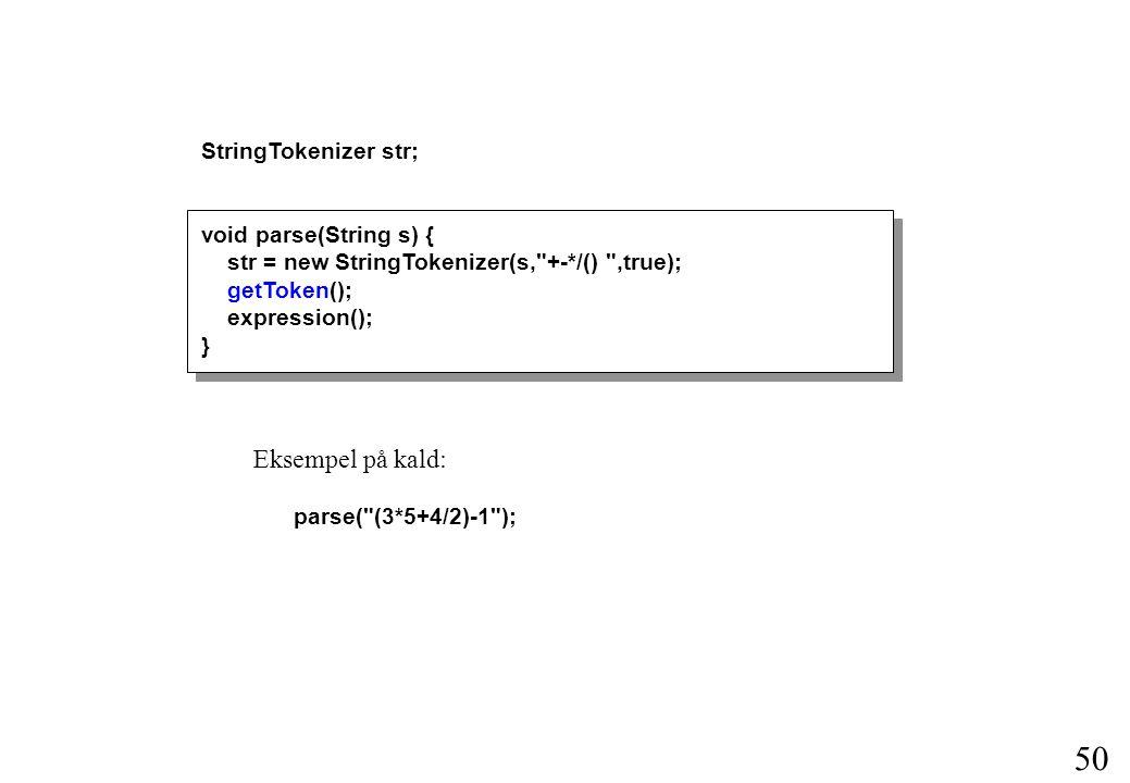 Eksempel på kald: StringTokenizer str; void parse(String s) {