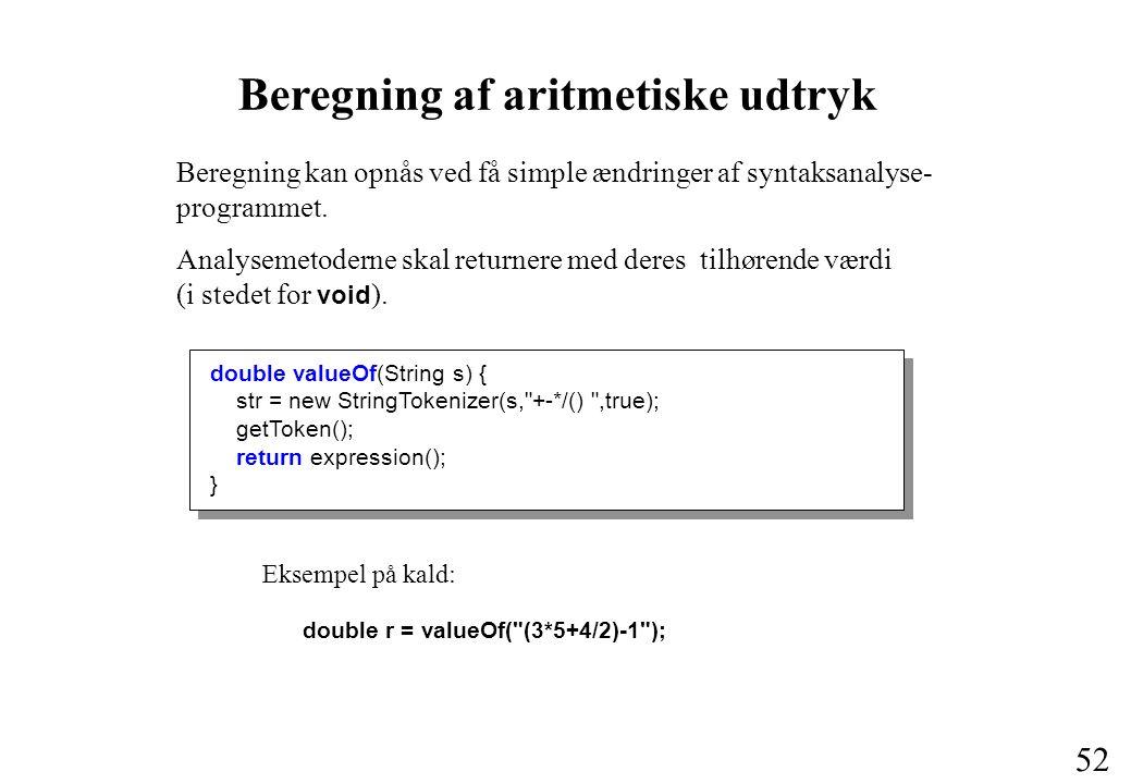 Beregning af aritmetiske udtryk