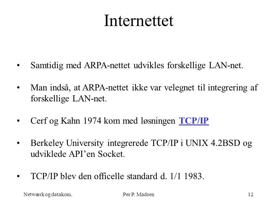 Internettet Samtidig med ARPA-nettet udvikles forskellige LAN-net.