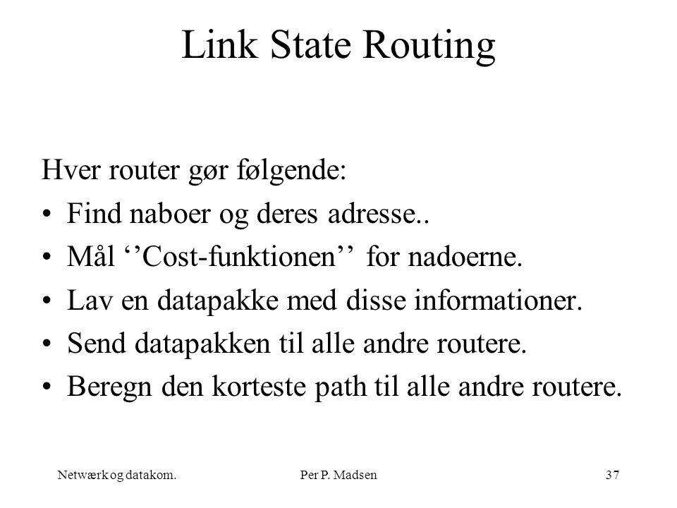 Link State Routing Hver router gør følgende: