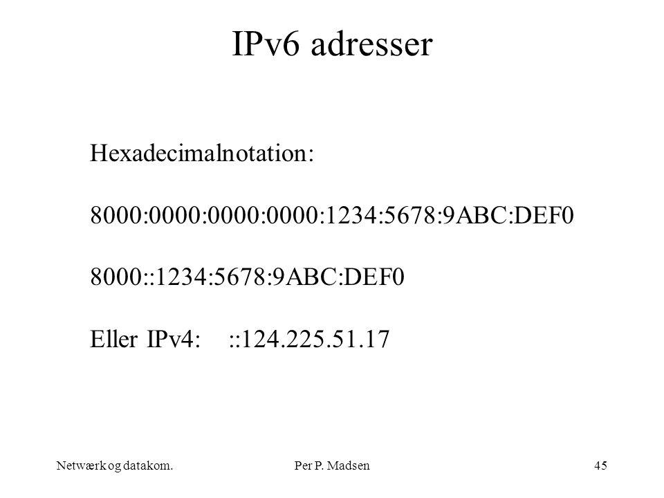 IPv6 adresser Hexadecimalnotation: