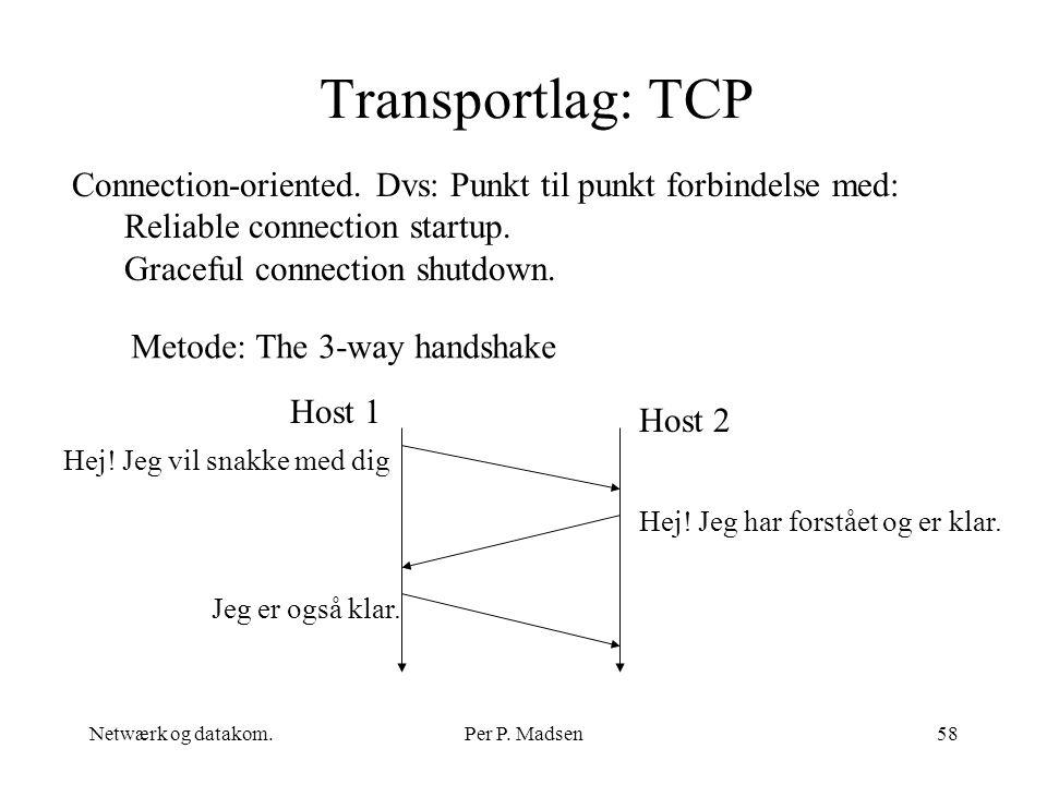 Transportlag: TCP Connection-oriented. Dvs: Punkt til punkt forbindelse med: Reliable connection startup.