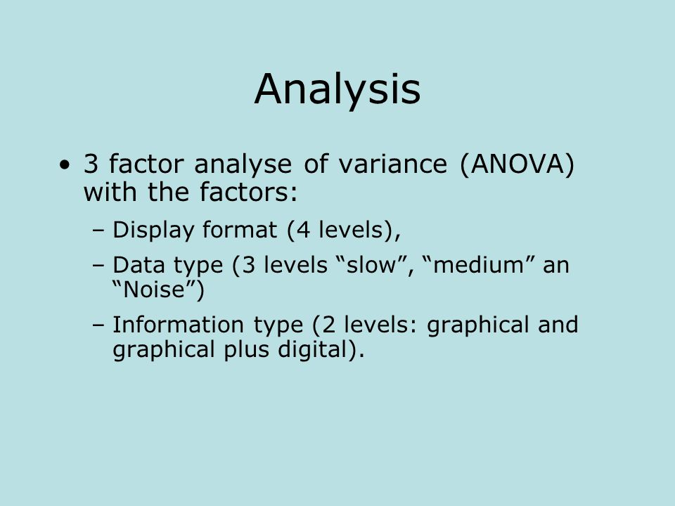 Analysis 3 factor analyse of variance (ANOVA) with the factors: