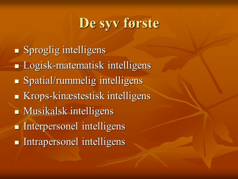 De syv første Sproglig intelligens Logisk-matematisk intelligens