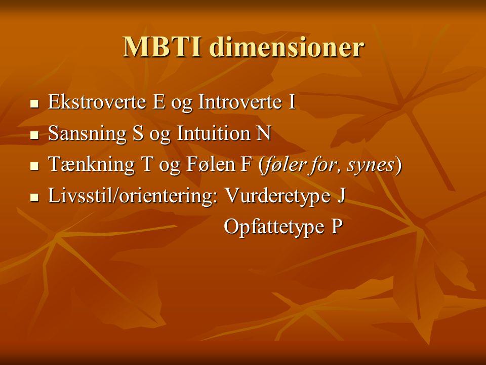 MBTI dimensioner Ekstroverte E og Introverte I