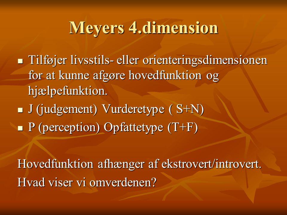 Meyers 4.dimension Tilføjer livsstils- eller orienteringsdimensionen for at kunne afgøre hovedfunktion og hjælpefunktion.
