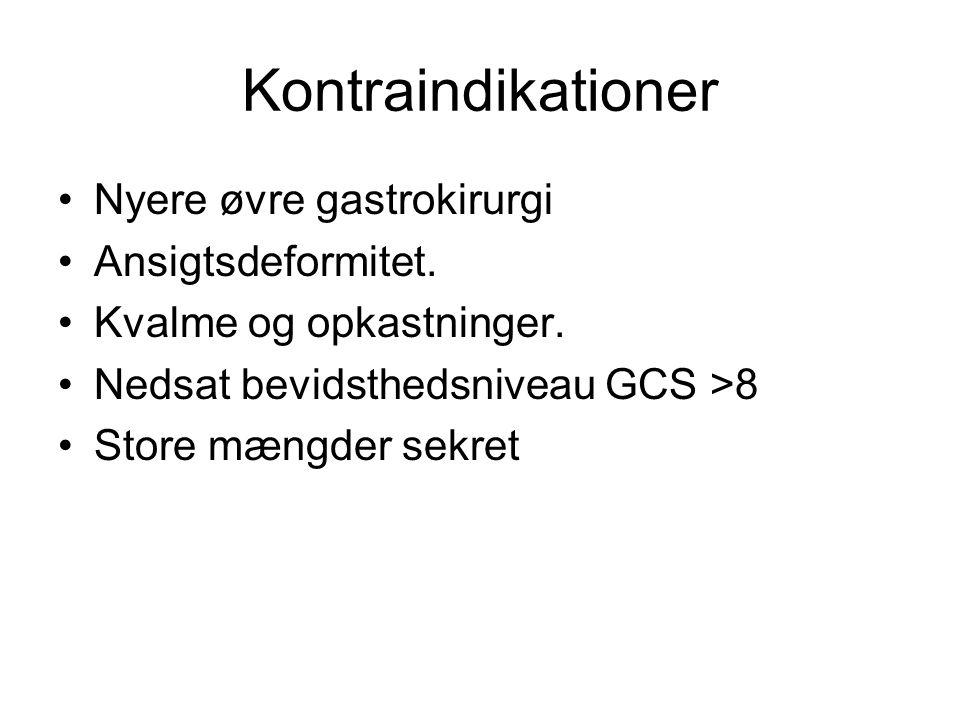 Kontraindikationer Nyere øvre gastrokirurgi Ansigtsdeformitet.