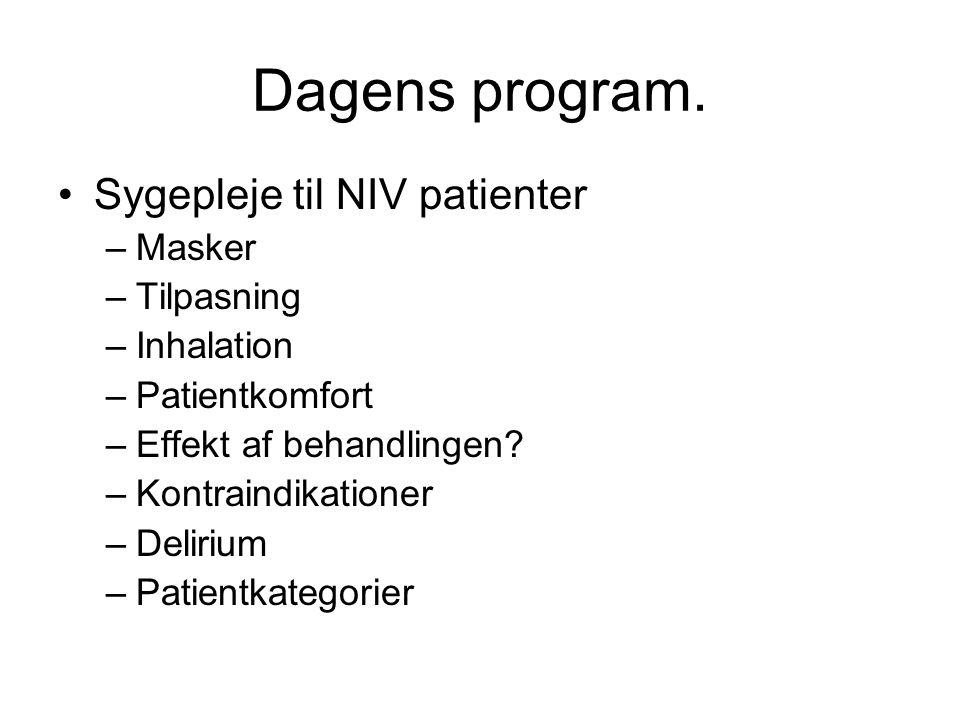 Dagens program. Sygepleje til NIV patienter Masker Tilpasning