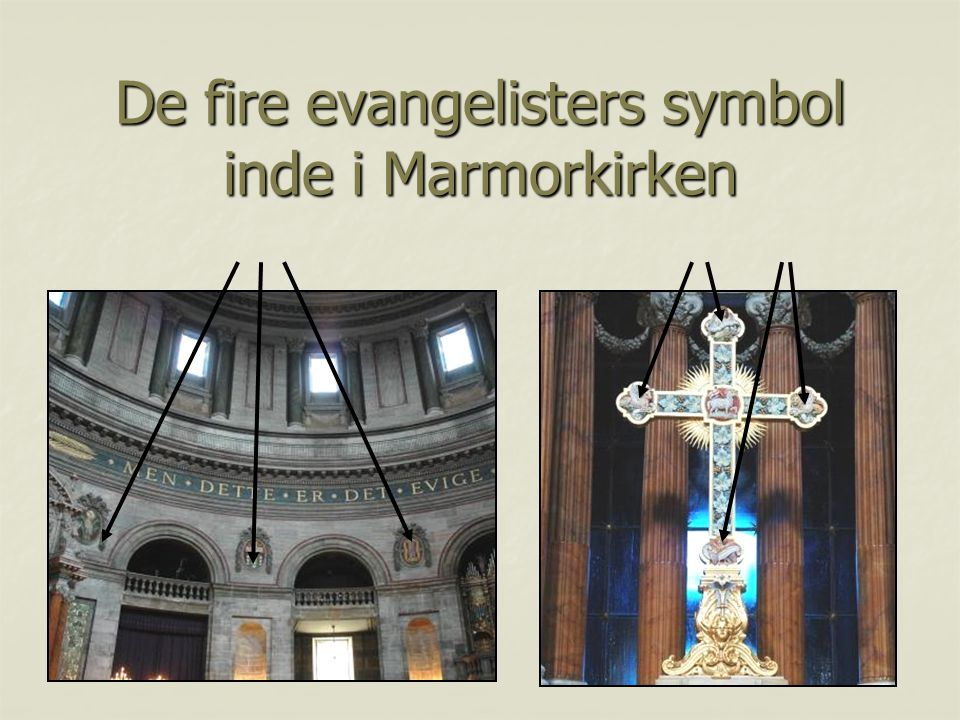 De fire evangelisters symbol inde i Marmorkirken