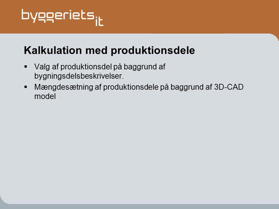 Kalkulation med produktionsdele