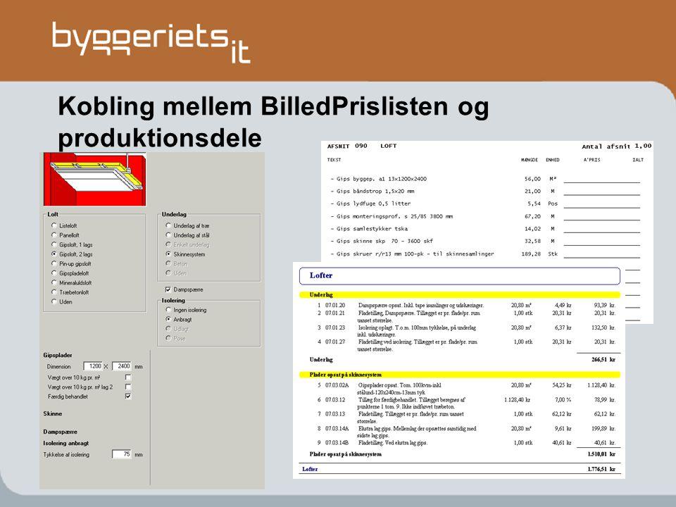 Kobling mellem BilledPrislisten og produktionsdele