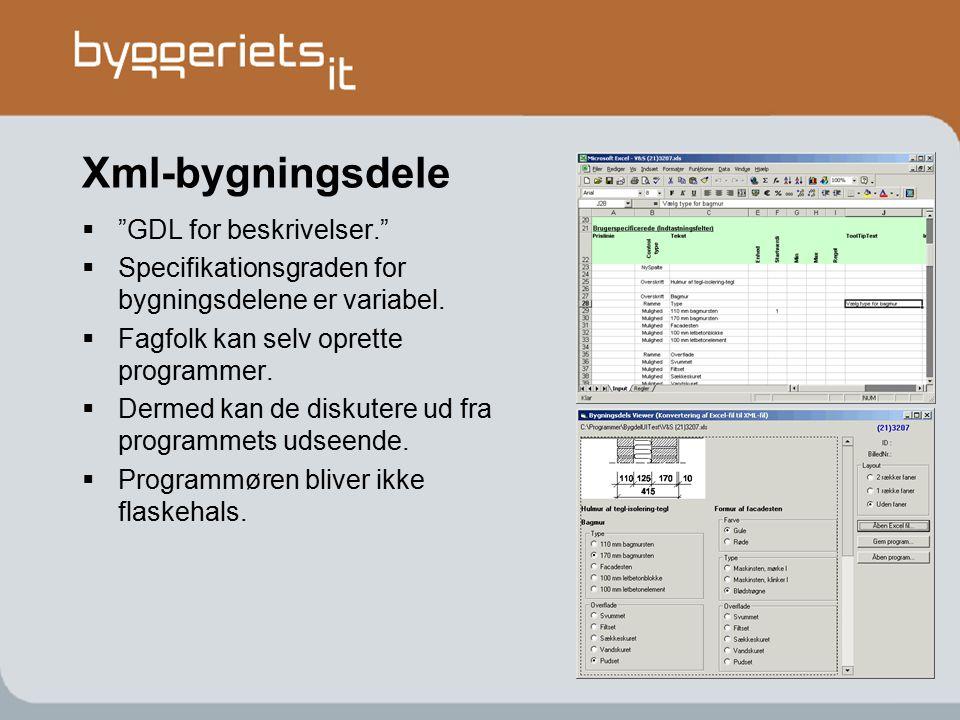 Xml-bygningsdele GDL for beskrivelser.
