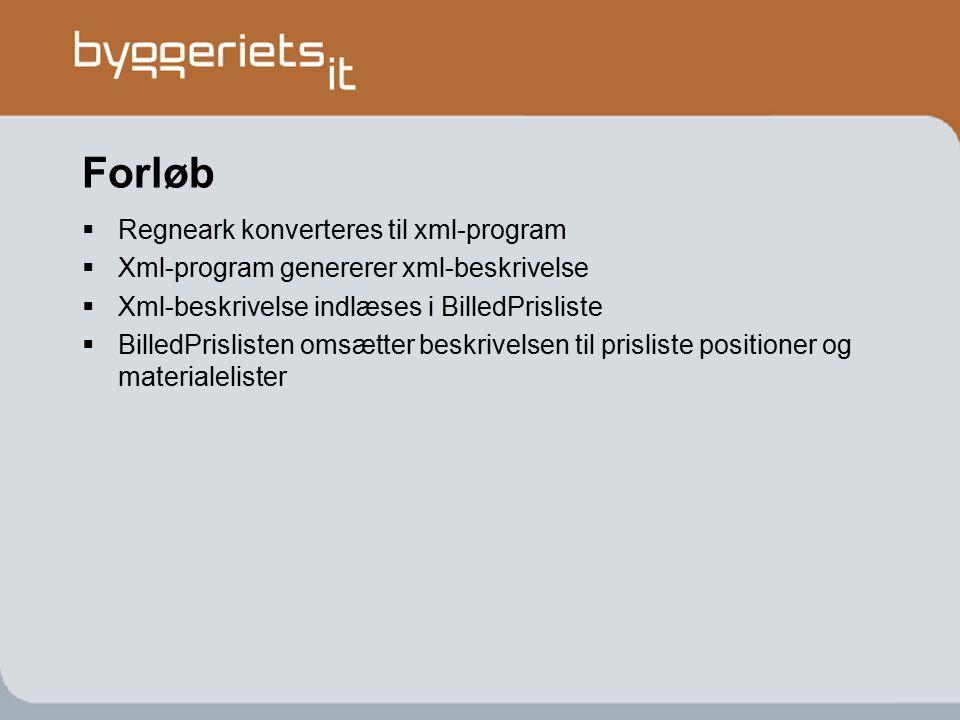 Forløb Regneark konverteres til xml-program