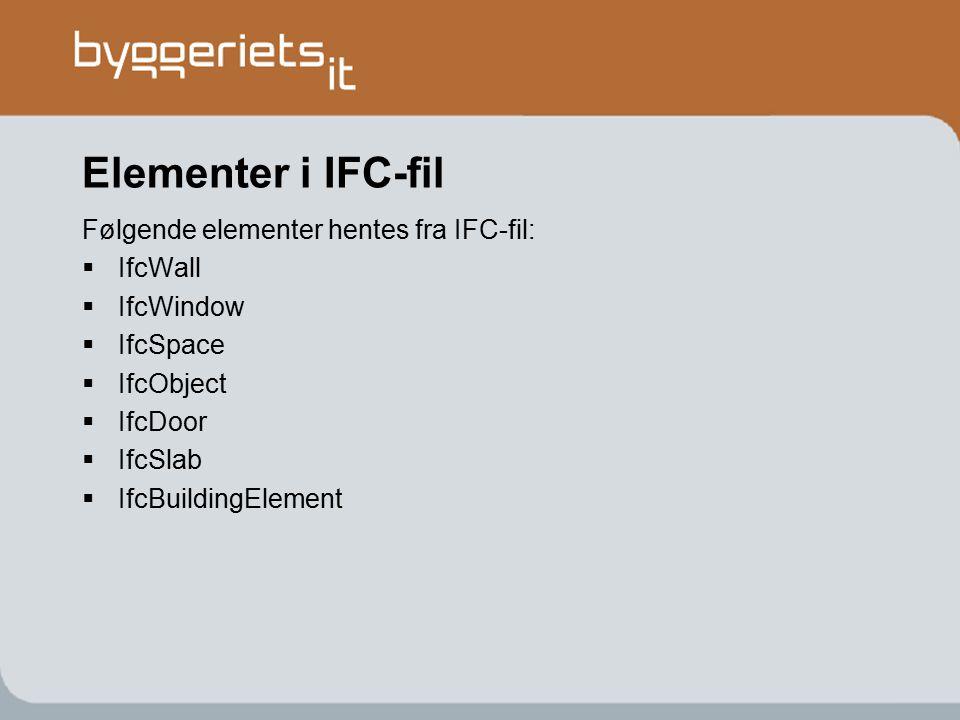 Elementer i IFC-fil Følgende elementer hentes fra IFC-fil: IfcWall